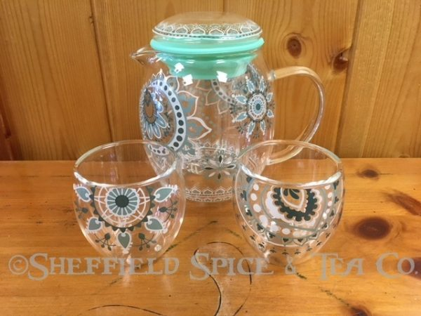 Cypress Lace Glass Teapot Gift Set with Cups