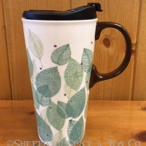 cypress leaves ceramic travel mug