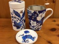 blue toile tea cup infuser canister set