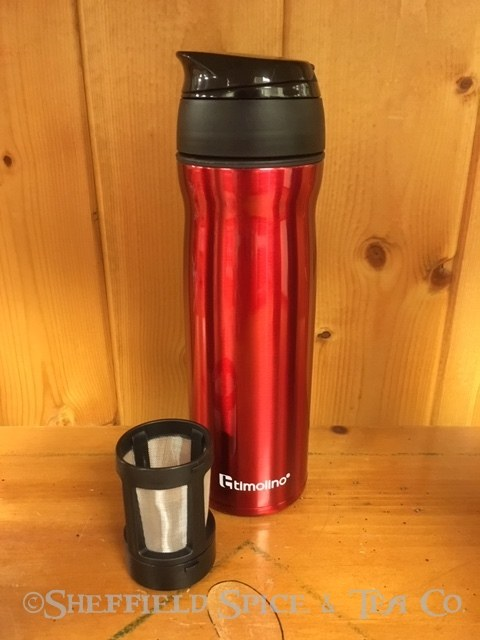 timolino travel tea infuser maroon red