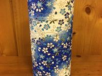 "6"" paper tea canister blue flower"