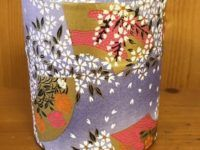 "3 1/2"" paper tea canister purple white"