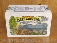 earl grey tea train wooden box