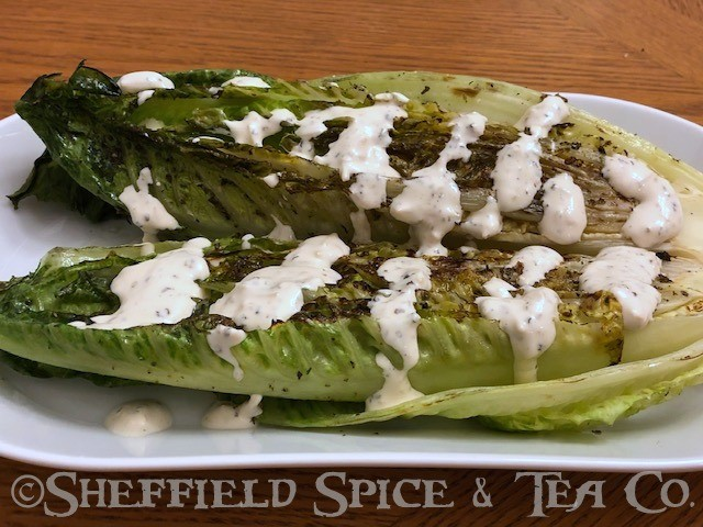 grilled romaine hearts with peppercorn dressing