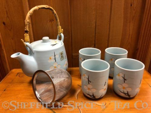 light blue daisy tea set