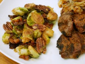 maple pecan bacon brussels sprouts