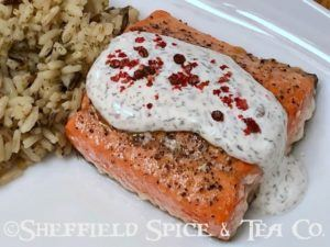 baked salmon with pink peppercorn sauce