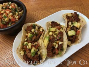 carne asada tacos with roasted corn relish