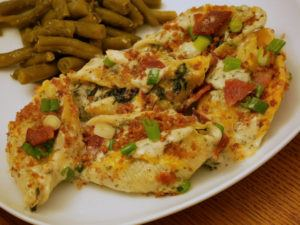 chicken stuffed shells plate